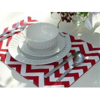 Set of 4 Reversible Placemats - Red Chevron & Red Striped Manufactures
