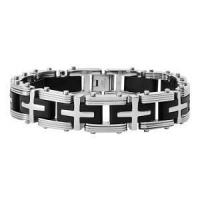 China Men's Stainless Steel Bracelet with Grooved Links and Black Rubber Insets | 8 long - JBR1012 on sale