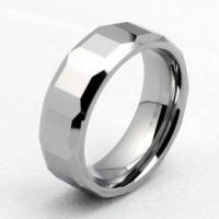 8mm Mens Faceted Tungsten Carbide Ring Manufactures