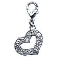 Crystal Encrusted Heart Lobster Claw Charm or Zipper Pull Manufactures