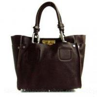 China Cyndi Leather Oversized Matte Tote Brown on sale