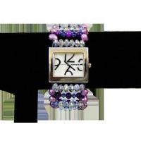 Mauve Fresh Water Pearl Dark Purple Shell Swarovski Crystal Fire Polished Glass Magnetic Clasp Watch Manufactures