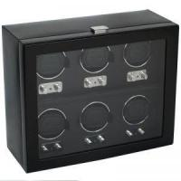 China Wolf Heritage 2.1 6PC Watch Winder with Cover - Black on sale