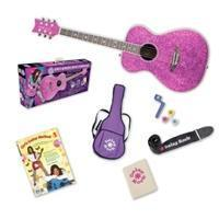 China Pixie Acoustic Guitar Starter Pack, Left-handed Girls and Women (Pink Sparkle) on sale