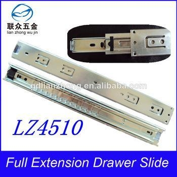China 45MM 3-fold drawer slide telescopic plastic push lock drawer slide