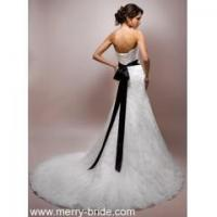China Slim A-line Wedding Dress With Dipped Neckline Style 0052 on sale
