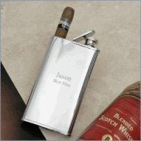China Stainless Steel Hip Flask with Cigar Holder on sale