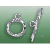 China 11.5mm spiral-shaped sterling silver toggle clasp on sale