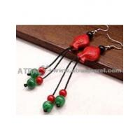 Carved lacquerware pure manual fish drop earrings