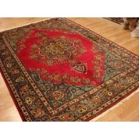 China Persian Handmade Wool Tabriz Open Signed Pomegranate Crimson blue red rug 7x9-7 on sale