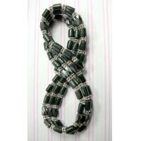 magnetic hematite necklace with multi black wood tubes and silver beads Manufactures