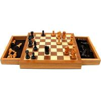 China Elegant Inlaid Wood Cabinet w/ Staunton Wood Chessmen Chess Set on sale