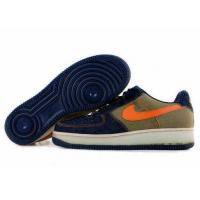 Nike Air Force One Mens Low Cut Shoes in Navy Khaki with Orange Logo Manufactures