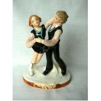 Vintage Schmidt Ice Skaters Figurine - Hand Painted Manufactures