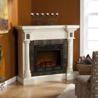 Carrington Faux Slate Convertible Ivory Electric Fireplace Manufactures