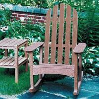 China Poly-Wood Classic Adirondack Rocking Chair with Two-Shelf End Table on sale