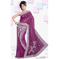 Magenta Color Shimmer Faux Georgette Lehenga Style Saree Manufactures