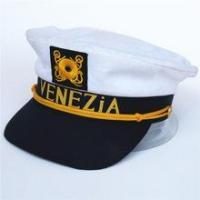China white sailor hat child with black visor brim and yellow embroider badge on sale