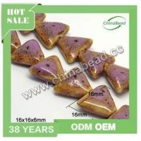 Best quality peru ceramic beads, triangle beads violet porcelain beads for necklace making