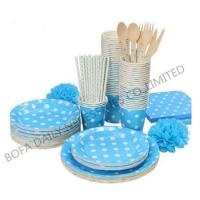 China PRODUCT White dot printing tableware set paper party tableware set wholesale