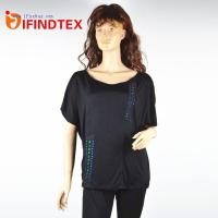 China Top & T-shirts IFD-DX039Ladies knitted T-shirt, jersey fabric 100%cotton on sale