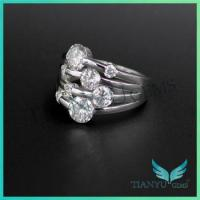 China Ring and earring Wholesale Alibaba Unique Design 14K White gold real Diamond Moissanite Ring on sale