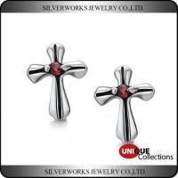 Men's Gothic Punk Thai Silver Cross Shapen CZ Silver Stud Earring With Zricon Manufactures