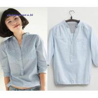 Fashion latest design v collar half sleeve woman shirts blouse lady denim tops