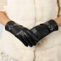 Women Genuine Leather Gloves Women Genuine Goat Leather Gloves With Rivets &Buckles GY376 Manufactures
