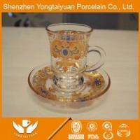 China wholesale royal gold plated glass wine cup &saucer wholesale