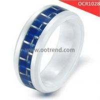 Buy cheap white ceramic rings inlay blue carbon fiber from wholesalers