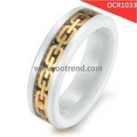 Buy cheap Shining golden white ceramic rings inlay golden carbon fiber from wholesalers