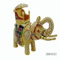 Buy cheap Yiwu factory wholesale luxury gold plating elephant jewelry box from wholesalers