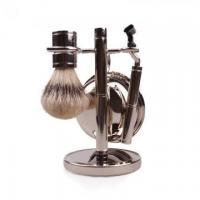 Hot sale synthetic hair shaving brush set with metal handle Manufactures