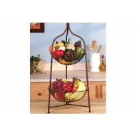 China Wire shelf series Product name:2 Tier Bronzed Metal Storage Fruit Basket on sale