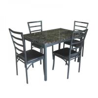 China Wholesale Rectangle Faux Marble Dining Table Set on sale