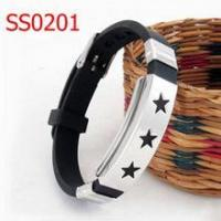 China Cheap Rubber silicone bracelets 316l stainless steel bracelet on sale