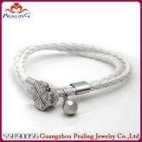 (SSB90056)Clover Stainless Steel Small Bell White Leather Wrap Bracelet Manufactures