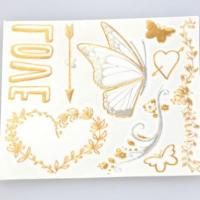 Custom radiant gold and silver heart shaped temporary tattoos flash gold tattoos Manufactures