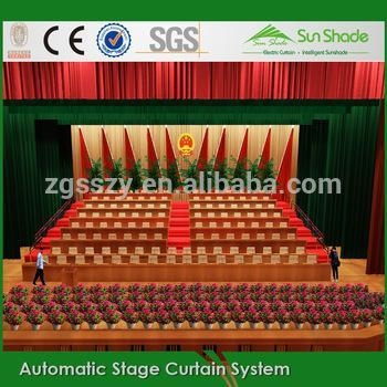 China Remote control Flame Resistant custom black church curtains decoration