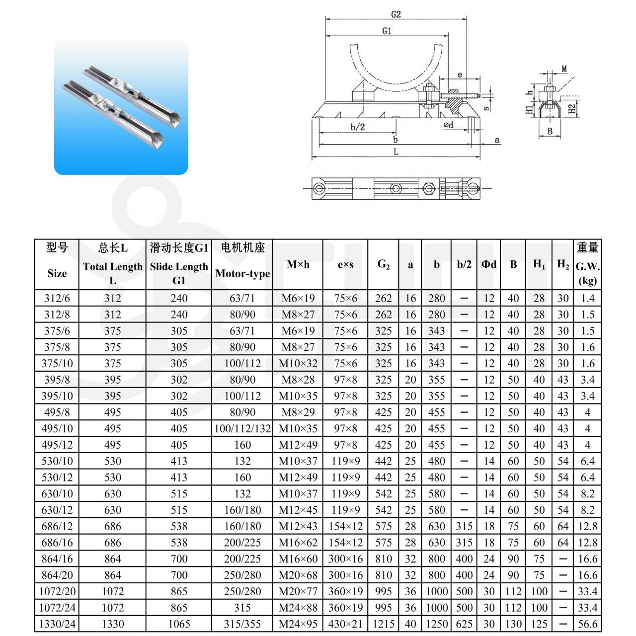 V-belt Motor Slider Rail Manufactures