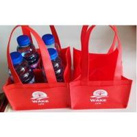 hot sale red non woven silk printing coffee carrier bag