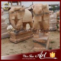 China Outdoor Red Marble Elephant Animal Sculpture on sale