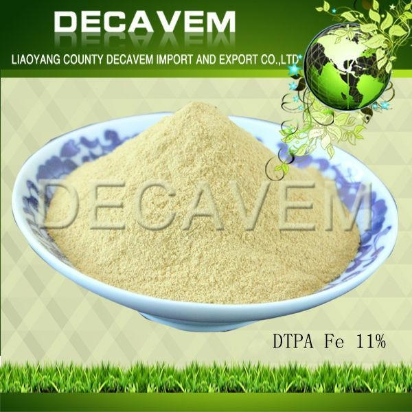 Quality DTPA Fe, DTPA Iron chelated micronutrients fertilizer, yellow brown powder, Ferric 11% for sale