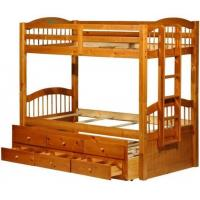 China Triplet Honey Pine Bunk Bed with Trundle and 3 Drawers on sale