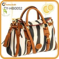 China Zebra fabric small leather tote bag on sale