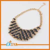 China gold chain pendant necklace black weaved charms wholesale