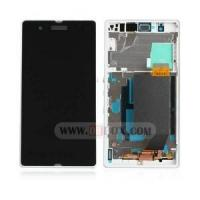 Sony Xperia Z LCD Display Touch Screen Digitizer Assembly with Frame White Original Manufactures