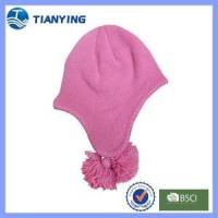 Buy cheap kids pure color ear-flap with pompom knitted hat from wholesalers