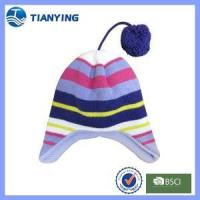 Buy cheap baby ear-flap stripe with cotton with pompom top knitted acrylic hat from wholesalers